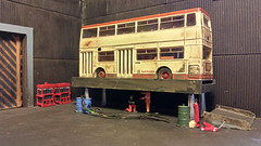 SYPTE 1510 On The Ramp (ManOfYorkshire) Tags: bus model ramp garage repair maintenance weathered diorama efe daimler fleetline diecast dms 176 scratchbuilt 1510 oogauge sypte epot