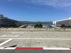 Waiting for a Shuttle Bus (sjrankin) Tags: sanfrancisco california northerncalifornia airport sfo edited sanfranciscoairport 18may2016