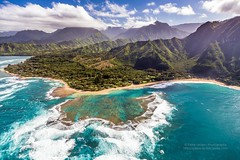 Tunnels Beach Paradise from the helicopter (PIERRE LECLERC PHOTO) Tags: ocean blue sea beach island hawaii paradise waves pacific aerial explore helicopter kauai tropical tunnels reef pierreleclercphotography