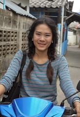 pretty young woman with pig tails on a motorcycle (the foreign photographer - ) Tags: blue woman portraits thailand nikon pretty bangkok young lard motorcycle pigtails bang bua khlong bangkhen d3200 phrao apr162016nikon