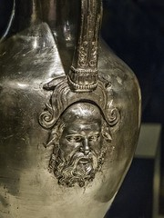 Closeup of Silenus, companion and tutor to the wine god Dionysus, on a silver oinochoe (wine jug) from King Philip II's tomb Greek 350-336 BCE (mharrsch) Tags: chicago silver greek illinois ancient wine tomb exhibit jug 4thcenturybce pitcher satyr funerary tutor macedon gravegoods silenus thefieldmuseum servingware philipii thegreeks oinochoe mharrsch thegreeksagamemnontoalexanderthegreat
