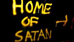 Home of Satan (800Spiders) Tags: urban vancouver island graffiti bc tunnel columbia victoria drain satan british douglas exploration ue drainage urbex darkie draining