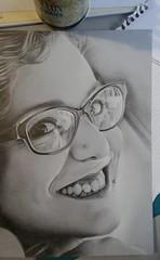 Letizia (DiegoCarnevale) Tags: portrait grigio colore bella colori riflessi bianco nero matita disegno realismo capelli occhiali matite pastello giovane pastelli carboncino