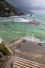 Monterosso-Piazza Garibaldi (cheryl strahl) Tags: italy weather europe waves windy overcast cinqueterre monterosso liguriansea piazzagaribaldi monterossoalmare italianriveria
