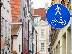 50   (obzorprezent) Tags: pedestrianzone pedestrian zone sign blue round bicycle city urban wall road bike traffic lane signs bycicle route walkway footpath signage roadside walking icon walker symbol path way walk area recreational public info metal white man latvia european street facade riga house old center colorful square