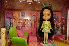 Cherry Berry was in the dolly cabinet... (Primrose Princess) Tags: pink green vintage mod doll retro lolita kawaii sakura blythe takara parischic barbiedollhouse cherryberryblythe dollydreamland