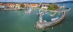 Ausblick auf den Hafen von Lindau am Bodensee (Morton Rainey) Tags: city blue sky lake water port germany bayern deutschland austria wasser lion lindau hafen bodensee konstanz ausblick badenwrttemberg