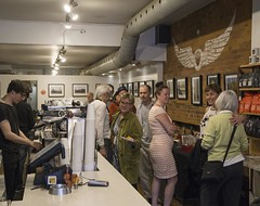 DSC05933_ep (Eric.Parker) Tags: show bridge party tree coffee japan photography gallery exhibition pinhole reception photograph opening contact fukushima manic 2015 gsv ericparker exclusionzone googlestreetview avokoplimae may62015