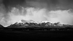 Storm in the Peaks (Patrick.Russell) Tags: sky blackandwhite bw cloud mountain storm mountains monochrome rain clouds 35mm landscape outside outdoors nikon colorado outdoor buenavista co 14ers d300 collegiatepeaks