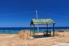Bus Stop (f/.M) Tags: sea kreta bluesky greece crete blau heraklion mediterraneansea aegaeis bluesea sunblind  karteros