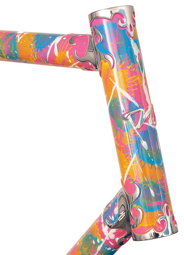 """<p>Waterford 22-Series Track Frame / Fleur de Lis Lugs and """"Freaky Jackson"""" paint job - with a nod to famed artist Jackson Pollock - but with a distinctive Waterford touch.  This was finished for a prominent member of the Koochella Women's Track Racing Team of Minneapolis, MN.</p>"""