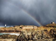 Rainbow over fort Corbletts, Alderney (neilalderney123) Tags: beach landscape rainbow fort alderney stormcloud corbletts 2016neilhoward 2016neilhoward