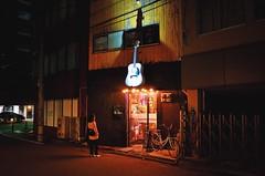 home of white guitar. (howard-f) Tags: street city urban japan night pub metropolis fukuoka tenjin kyushu urbanphotography  whiteguitar  folksong  handheldnightphotography vsco vscocam nikoncoolpixa coolpixa vscogrid lifeundercitylights shiroiguitar