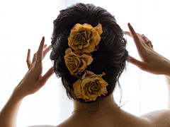 J156 (charlotte.boullier) Tags: flowers roses people plants nature colors girl strange face yellow sepia dark hair neck nude photography weird back hands body innocence brunette nudity delicate pure challenge delicacy 365days 365challenge projet365 365projetc