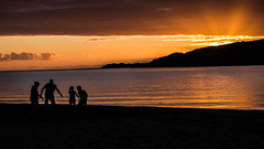 Family play time (Deborah Kelland) Tags: sunset people beach silhouette children fuji play outdoor rugby touch