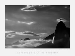 Mollo do Corcovado e Cristo Redentor - Rio de Janeiro, Brasil (MarkRHurn) Tags: brazil blackandwhite bw mountain silhouette rock brasil riodejaneiro landscape effects blackwhite br year landmarks style places cristoredentor christtheredeemer corcovado xp2 granite environment ilford 2012 filmtype