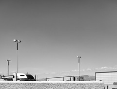 Mecca Travel Center (autobahn66.com) Tags: california sky blackandwhite abstract desert minimal trucks mecca saltonsea bigrigs