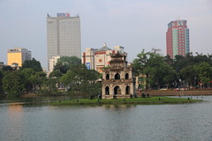 Turtle Tower on the lake (Bex.Walton) Tags: travel vietnam hanoi hoankiemlake oldquarter
