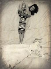 Barbie Dolls -- Finally the Bride? (Aerykah) Tags: oklahoma monochrome sepia headless bride doll dolls barbie creepy bridesmaid macabre disturbing 2016
