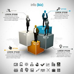 Business Infographic (Infographics) (hypesol) Tags: people businessman modern illustration advertising layout corporate idea design marketing colorful graphic creative icon business step diagram info choice process vector template element infographic businesswoman