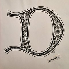 """Tangled lombardic letter """"D"""" (marusaart) Tags: blackandwhite art illustration sketch artist drawing doodle ornament letter alphabet draw copic marusaart"""