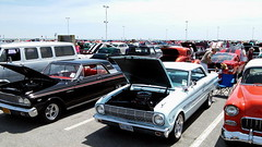 Gorgeous Day, Crowded Lot (splattergraphics) Tags: ford 1955 chevy falcon sprint carshow fairlane 1963 oceancitymd cruisinoceancity