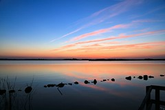 Sunset over Back Bay National Wildlife Refuge (Chuck - PhotosbyMCH (back now)) Tags: photosbymch landscape sunset goldenhour clouds reflection water backbay usfishandwildlifeservice backbaynationalwildliferefuge virginiabeach virginia usa canon 5dmkiii nd 2016 outdoor sky bay inexplore explored cirrusclouds blue pink orange silhouette rocks beach obx outerbanks surreal 500faves 20000views 1000faves 25000views spring