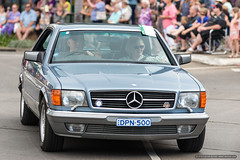 2 door Mercedes- Jacaranda Parade 2015 (sbyrnedotcom) Tags: 2015 people events grafton jacaranda parade rural town mercedes 2door sedan nsw australia