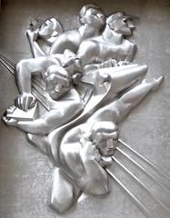 News (pburka) Tags: sculpture relief art deco men man industry silver workers working rockefeller manhattan nyc journalist journalism ap associatedpress steel noguchi isamunoguchi 1940 monochrome