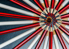"""Macro Mondays """"the first letter of my name"""" (peterbaird100) Tags: creative nikon abstract white red pencils macromondays thefirstletterofmyname wheel art circle"""