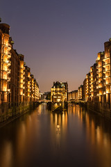 City Lights (Explore #42) (Fabian F_) Tags: canal water speicherstadt hamburg citiy night lights trip vacation spot shorttrip nightly stadt deutschland germany sky reflection