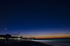 Nightfall in Cayo Santa Maria, Cuba (rbf0069) Tags: cuba cayosantamaria night beach sea atlanticocean blue orange sand sailboat stars sky cloud dusk nightfall caybeach
