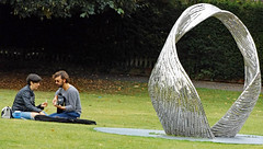 Salisbury Cathedral grounds 2016 (Sweet Mango 1965) Tags: salisbury cathedral 2016 sculpture candid couple guitar art wiltshire