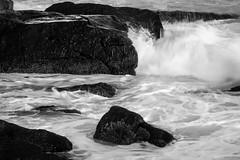 surf, waves, flux, rock forms, near Lobster Cove, Monhegan, Maine, Nikon D40, nikon nikkor 105mm f-4, 5.26.15 (steve aimone) Tags: ocean sea blackandwhite seascape motion monochrome rock nikon surf waves maine monochromatic flux foam forms nikkor atlanticocean f4 monhegan 105mm monheganisland primelens lobstercove nikond40 nikonprime