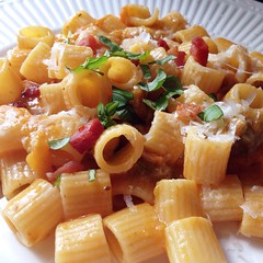 "It was pasta night at our family table tonight. We paired diced pancetta with frozen cherry tomatoes from last year's garden. Topped with grated pecorino and basil from this year's garden, it was a delicious meal.   With every bite, I was more and more ex • <a style=""font-size:0.8em;"" href=""https://www.flickr.com/photos/54958436@N05/17562861948/"" target=""_blank"">View on Flickr</a>"