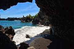 Black Sand Beach at Wai'anapanapa State Park - Maui, Hawaii (MNTravelingMan84) Tags: ocean beach nature water beautiful beauty island hawaii islands waterfall colorful paradise pacific hiking maui hike wanderlust hana hawaiian hi roadtohana hilife naturephotography blacksandbeach hawaiianislands hawaiianparadise hawaiilife hawaiianarchipelago