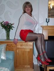 What surprises are in my drawers (janegeetgirl2) Tags: red black panties tv high glamour sandals bra chiffon mini tights skirt lingerie crossdressing tgirl short transvestite heels crossdresser ts nylon pvc stilettos seams