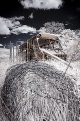 Shuttle Bus Infrared (Notley) Tags: sky bus abandoned field clouds rural ir midwest may missouri infrared 2016 shuttlebus 10thavenue notley ruralphotography lifepixel infraredconversion ruralusa fencewire overtonmissouri notleyhawkins coopercountymissouri missouriphotography httpwwwnotleyhawkinscom notleyhawkinsphotography