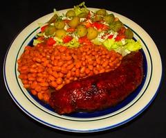 BBQ Cajun Pork Loin (ezigarlick) Tags: food tomato beans sauce bbq pork lettuce barbecue homecooking paprika cajun loin thyme tomatosauce oregano baked dillpickles