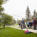 "<b>Atlatl Lessons with Colin Betts</b><br/> Colin Betts' Anthro class learns how to use a atlatl outside of Koren Hall. May 11th, 2016. Photo by Aaron Lurth<a href=""http://farm8.static.flickr.com/7795/26924353136_7948dd654d_o.jpg"" title=""High res"">∝</a>"