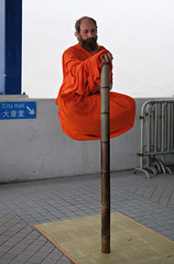 """enjoy your own company"" (iii) (hugo poon - one day in my life) Tags: orange 35mm lunch hongkong office solitude alone footbridge central walkway streetperformer xpro2 manyiustreet"