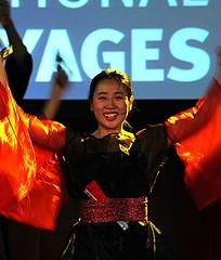 Hinowa Closeup (Sakuramai Toronto) Tags: show travel red people music canada color girl japan closeup pose japanese dance costume montreal live stage performance indoor dancer indoors   yosakoi tbt   ilovejapan      throwbackthursday