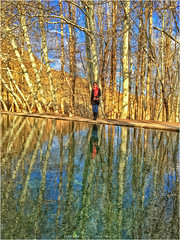 2016-02-15_16-05-30_IMG_9094_q75_s10 (Cyrus II) Tags: blue winter light sky people orange cloud sunlight lake black reflection tree green water sunshine yellow river geotagged scenery iran boots outdoor jeans kashan esfahan farnaz irn abiyaneh iphone6 abyneh geo:lat=3359498600 geo:lon=5160196400