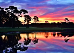 Sandestin Sunrise (soboy5) Tags: blue trees red sky lake water colors grass yellow clouds sunrise reflections golf dawn pond purple florida silhouettes golfcourse ripples destin tones sandestin