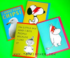 NEW TOYPINCHER CARDS!!! (Toypincher) Tags: moomin davidbowie aladdinsane littlemy seagull snoopy peanuts card birthday greetings