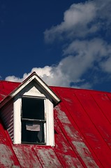 Small town Red, White & Blue (2Colnagos) Tags: redwhiteblue maine skowhegan newengland sky tinroof americanflag usa country clouds