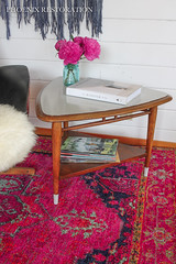 2016 0707 Mid Century Guitar Pick Table - Take 2 - full size-5 (Phoenix Restoration   Furniture by Christina) Tags: phoenix restoration general finishes seagull gray walnute walnut two tone persian rug plycraft chair george mulhaser painted furniture modern bohemian chic pink