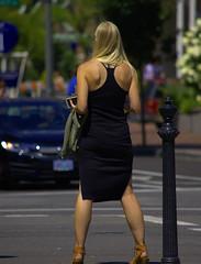 Taking A Stance (swong95765) Tags: woman street blonde female crossing crosswalk dress stance bokeh