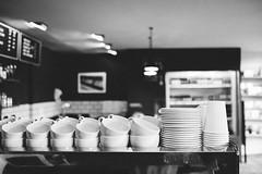 Cups (M. Klasan) Tags: black white fuji fujifilm xt2 cups coffee ceramic porcelain machine shop cafe interior indoor tableware dinnerware