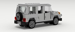Mercedes-Benz G Wagon (IRL) (rear view) (Tom.Netherton1) Tags: road old city classic digital vintage germany mercedes benz power lego offroad 4x4 pov designer military 4wd off german mercedesbenz legos download 1970s suv 1980s luxury 1990s dropbox povray roader offroader ldd lxf 1980's